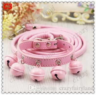 Dog Collars Leashes 2017 Adjustable Bells Collars Little Dog Harness Leash Lead Strap Collar for Pet Dog Puppy Lovely Decoration Pet Product