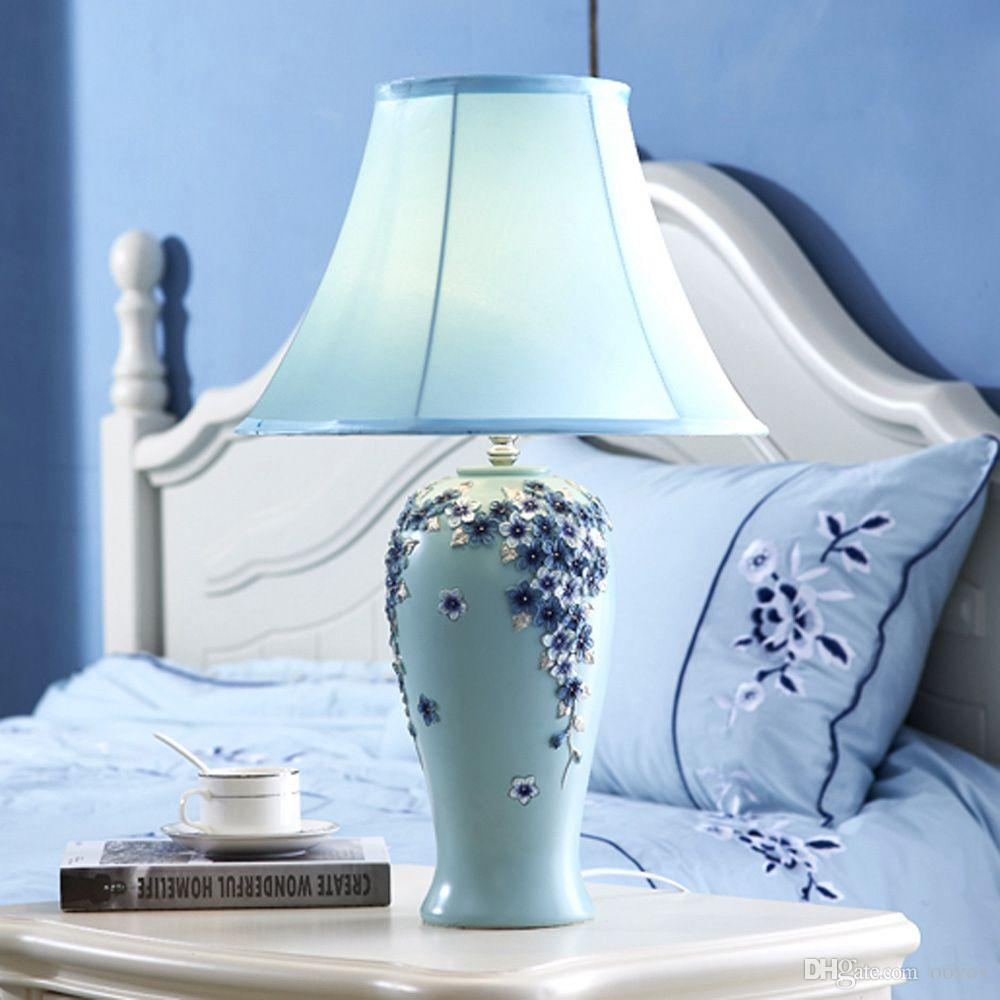 OOVOV Pastoral Flowers Bedroom Table Lamp European Resin Fabric Living Room Princess Room Desk Lamps Blue