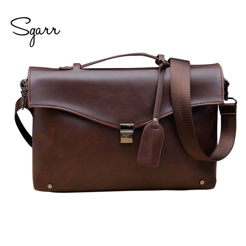 4fac3c1f529a Wholesale SGARR Men S Crazy Horse PU Leather Mens Briefcase Fashion  Business Handbags Messenger Bag Large Capacity Office Bag Travel Bag  Wheeled Briefcase ...