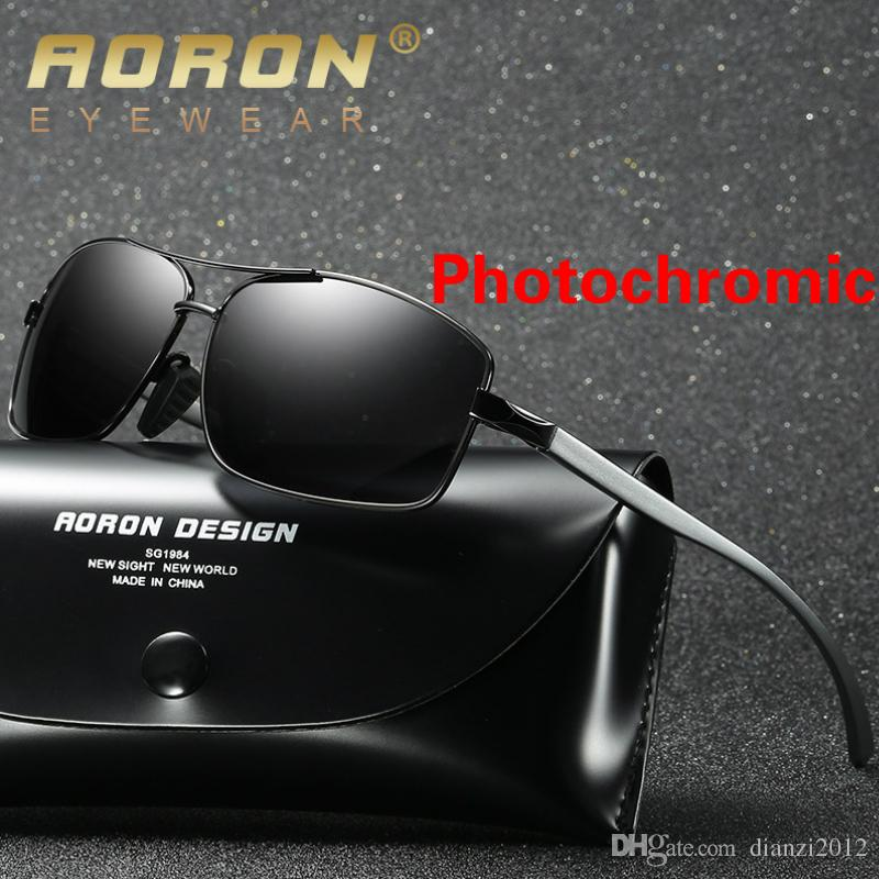 5504e85e2c Mens Discoloration Sunglasses Polarized Lens Transition Photochromatic  UV400 Driving Glasses Aluminum Frame Fashion Eyewear Sports Goggle Dragon  Sunglasses ...