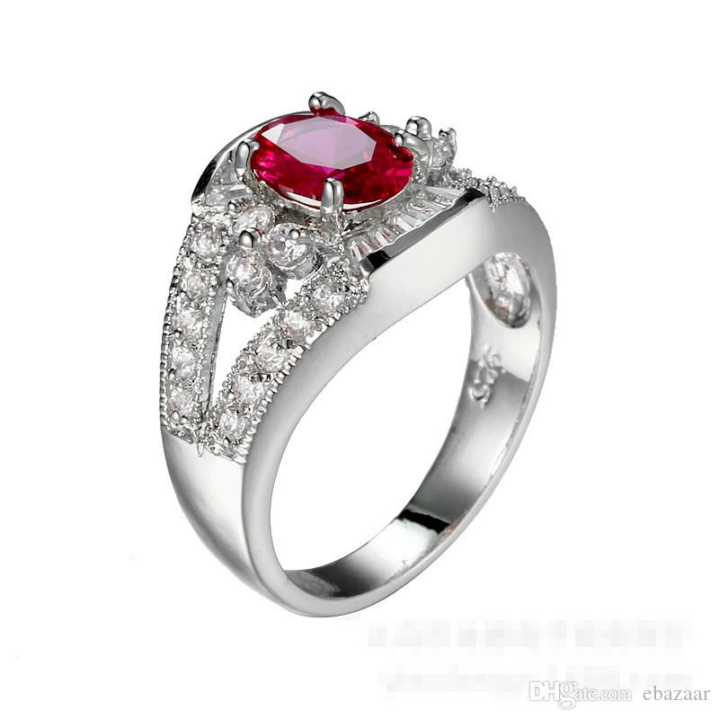 Gift Jewelry Ruby Diamonique Cz Gold Filled Plated Wedding Engagement Band Ring Sz6-10