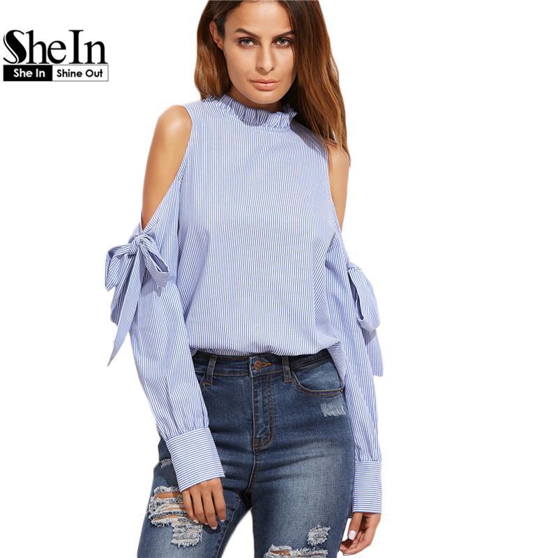 ac0bcd9be650c Compre SheIn Vestidos De Moda Coreana De La Moda Y Las Blusas Para Las  Mujeres Azul Vertical Striped Ruffle Collar Cold Shoulder Blusa A  44.35  Del ...