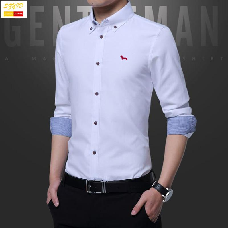 d677d841ded3 Wholesale- Szyid Brand Clothing Spring Cotton Men Shirt Casual Solid ...