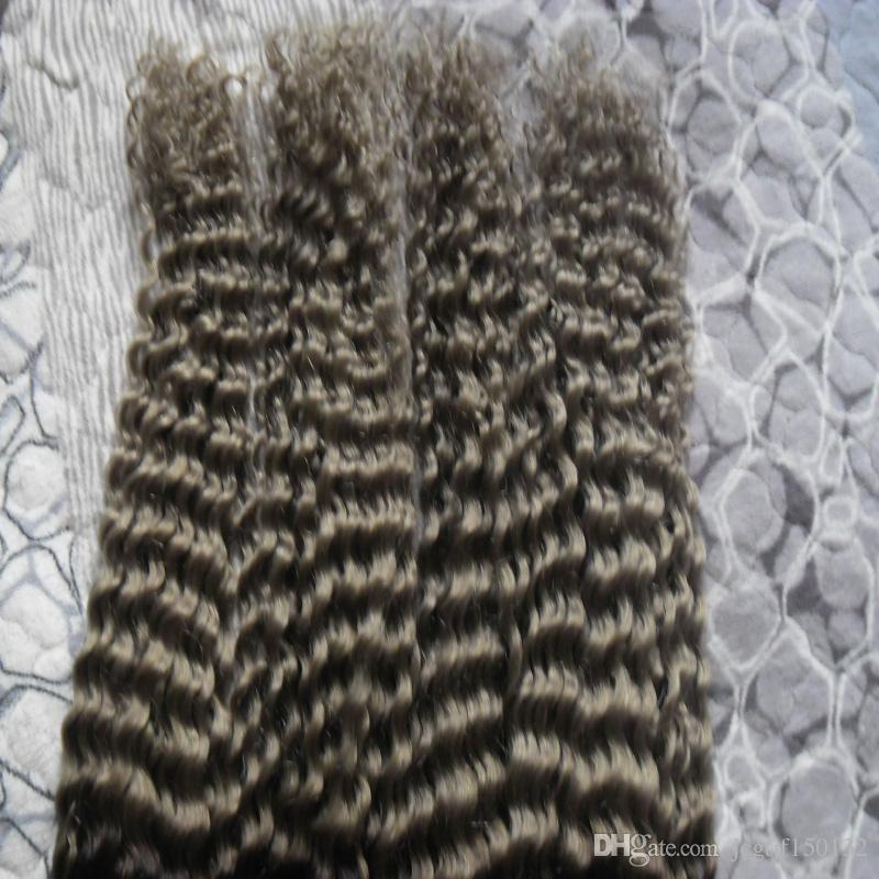 Fasci di tessuto capelli grigi 4 pz brasiliano capelli ricci vergini doppia trama T1B / grigio ombre capelli brasiliani 400g
