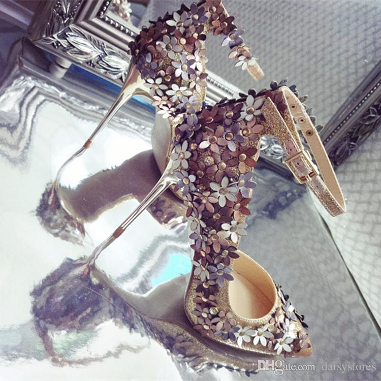 Wholesale Pointed Toe Glitter Flower Lady High Heels Wedding Party Bridal Shoes Gold Silver 10cm 8cm Stiletto Sandals Shoes