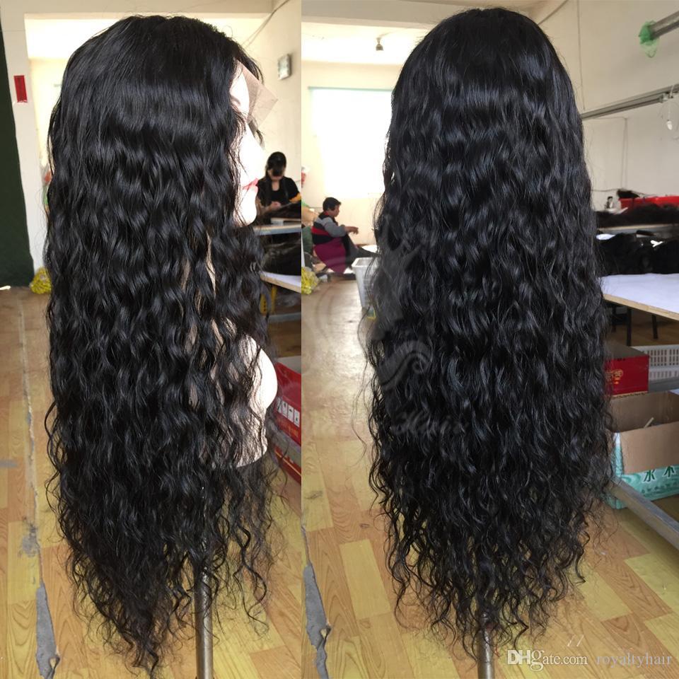 130 ٪ يشبع باروكة شعر الإنسان الباروكات فضفاضة عميق مجعد الرباط الجبهة شعر الإنسان الباروكات للمرأة السوداء