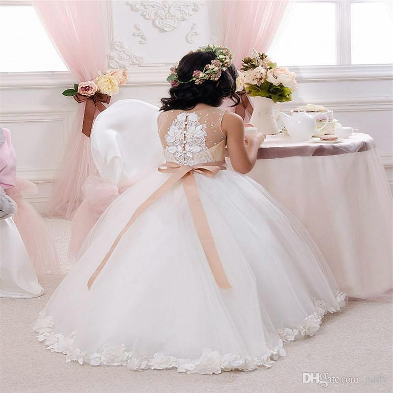 Cute 2017 Cheap Sexy Sequins Flower Girls Dresses Formal Kids Backless Little Girl Pageant Party Gowns