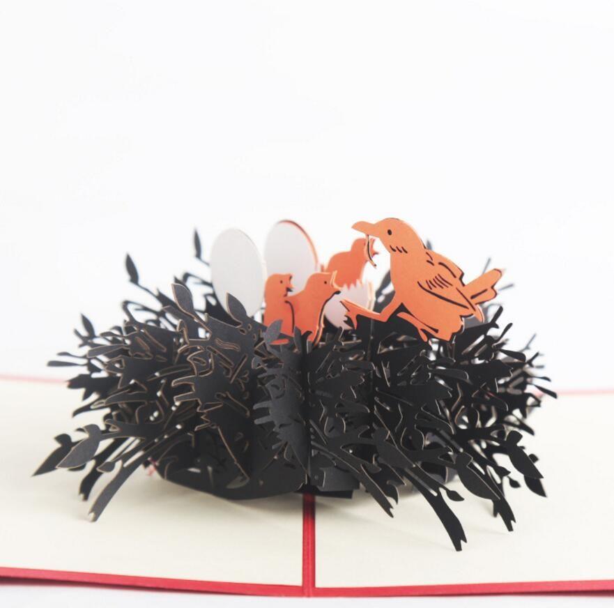 Bird Nest Handmade Kirigami Origami 3D Pop UP Greeting Cards Invitation card For Wedding Christmas Birthday Party Gift