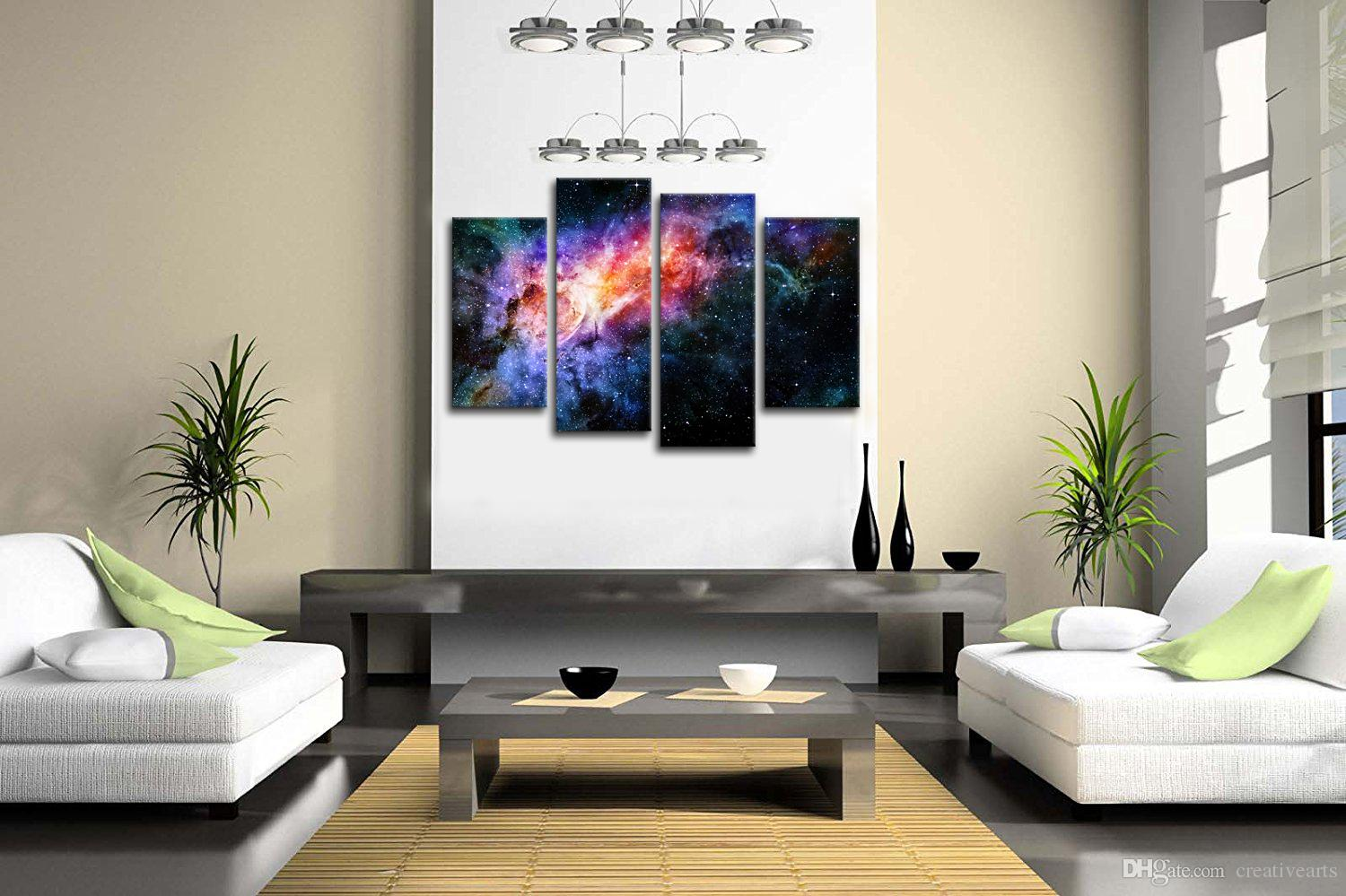 Outer Space Galaxy Landscape Canvas Painting Nebula Photography Printed on Canvas Home Wall Decor Non Frame30x60cmx2 30x80cmx2
