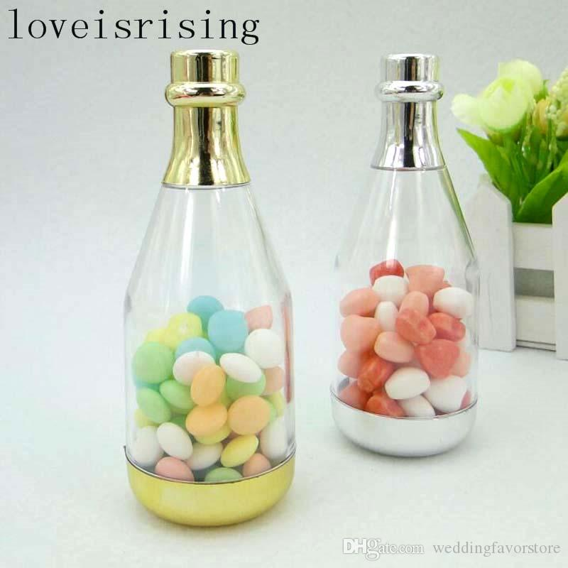 Gold Or Silver Color Champagne Bottle Wedding Candy Boxes Candy Jars