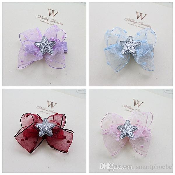 Wholesale 6C Fashion Gauze Hair Bow Baby Girls Hair Clips Solid Cute Glitter Star with Bowknot Girls Hairpins Hair Accessories
