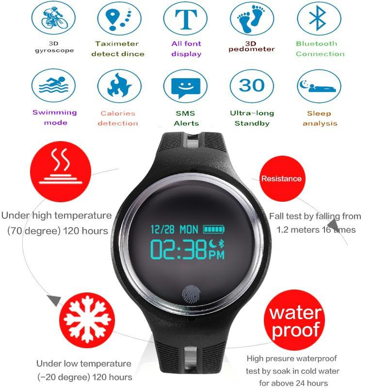 Wholesale- 2017 Sports GPS movement activity smart bracelet watch Six-axis G-sensor Smart Bracelet fitness tracking for Android E07