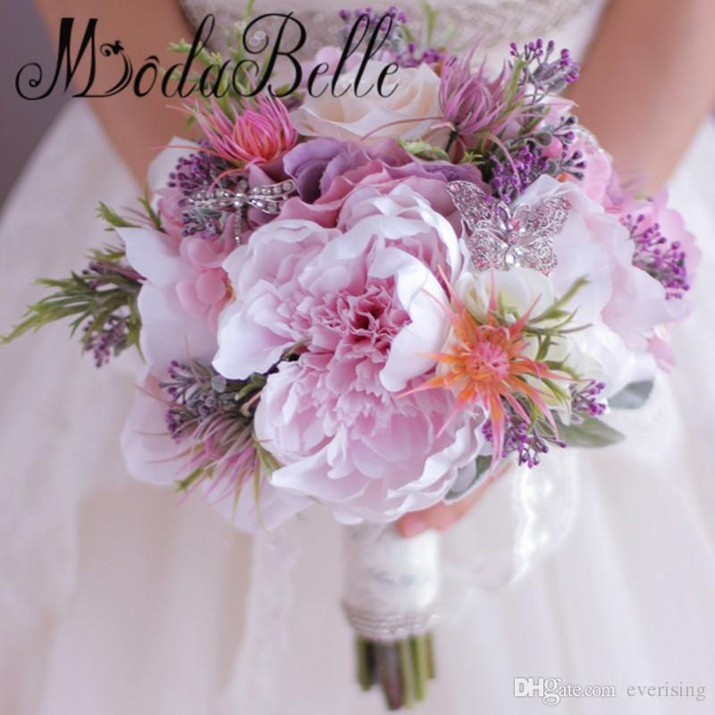 New Beautiful Roxo Buquê de Casamento Rosa Todos Feitos À Mão Flor de Noiva Artificial Hortênsia Peônia Rose borboleta Broche Bouquets