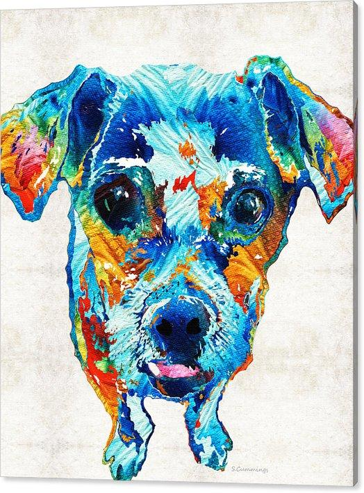 Giclee colorful little-dog-pop-art by sharon cummings oil painting arts and canvas wall decoration