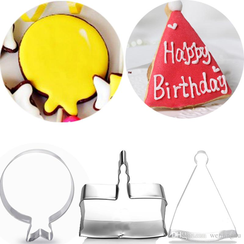 3pcs Birthday Cake Balloon Hat Metal Cookie Cutter Sets Fondant Decorating Tools Biscuit Stamp Mold Kids For Baby Shower