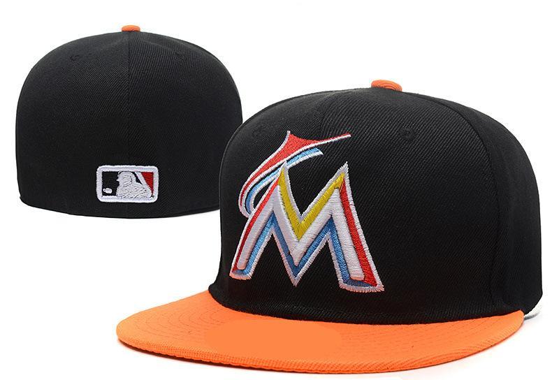 f44123ea73051 Retro Classic Marlins Fitted Caps Baseball Cap Embroidered Team Flat Brim  Size Hat Marlins Fitted Hats Chapeu Masculino Bone De Beisebol Kids Hats  Ball Caps ...