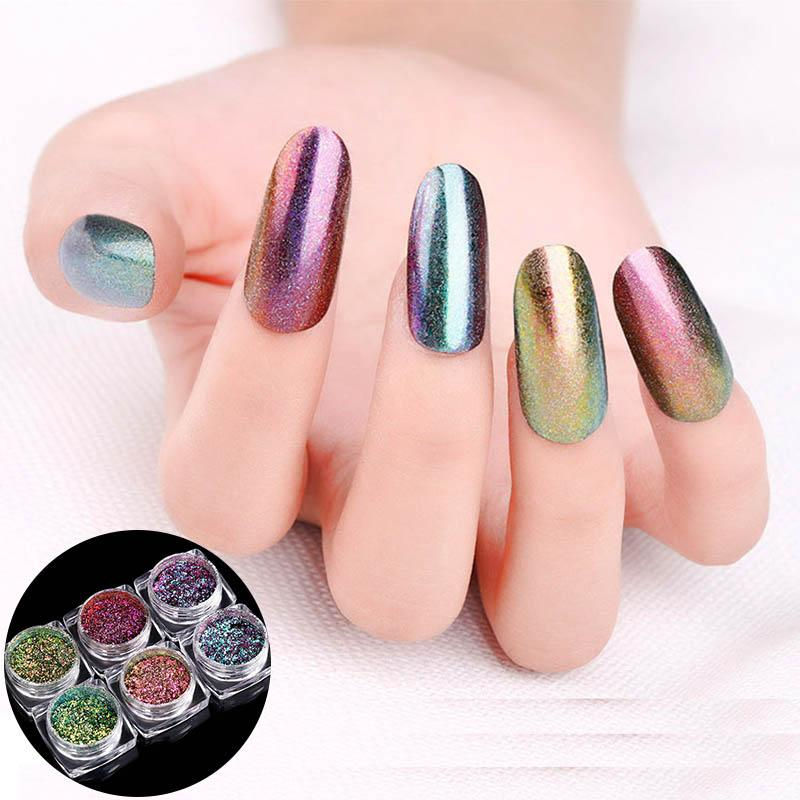 New Nail Glitter Chrome Chameleon Powder 2g Mirror Pigment Laser ...