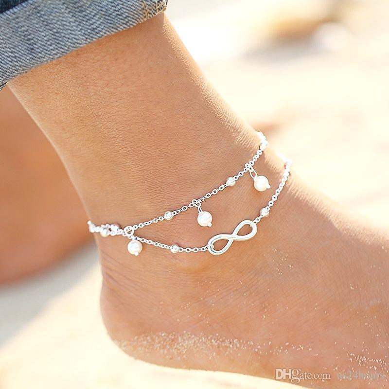 Yüksek kalite Lady Çift 925 Ayar gümüş Kaplama Zincir Ayak Bileği Halhal Bilezik Seksi Yalınayak Sandal Plaj Ayak Takı
