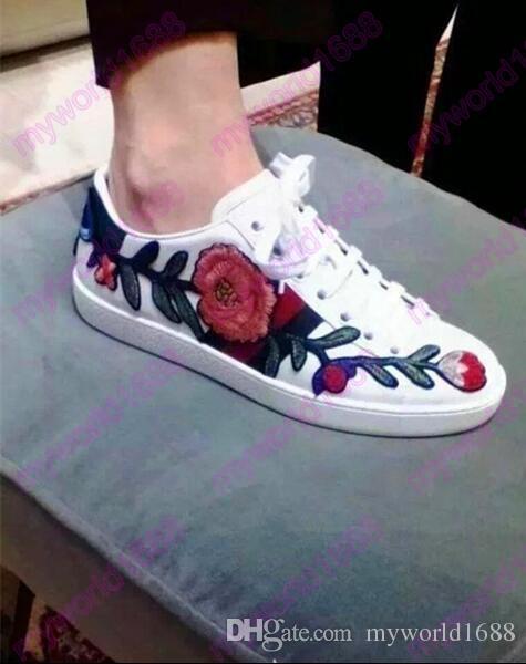 2017 Damas Belleza Bordado Floral Volver Bowtie Pisos Zapatos Casuales Mujer Color Mezclado Flor Lace up Low Top Blanco Trainer Shoes