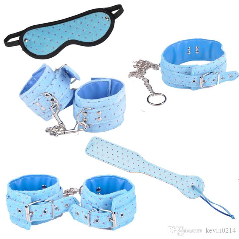 Red Blue Erotic Positioning Bandage Kits SM Toys Sex Slaves Role Play Set Cosplay Toys 5in1 with Eyepatch Handcuffs Shackle Collar J10-26