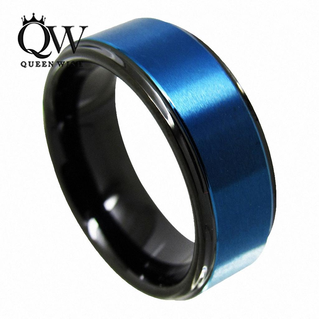 2018 queenwish promise ring 8mm black blue tungsten ring engagement finger his and hers wedding bands men couples statement fashion jewelry from gnexleds - Black And Blue Wedding Rings