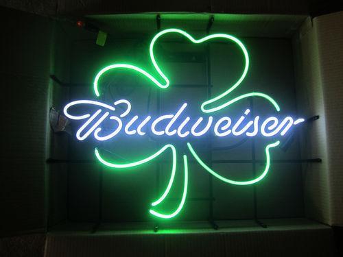 17''X14'' Budweiser Shamrock Neon beer bar Light sign Bud St Patricks Day Irish