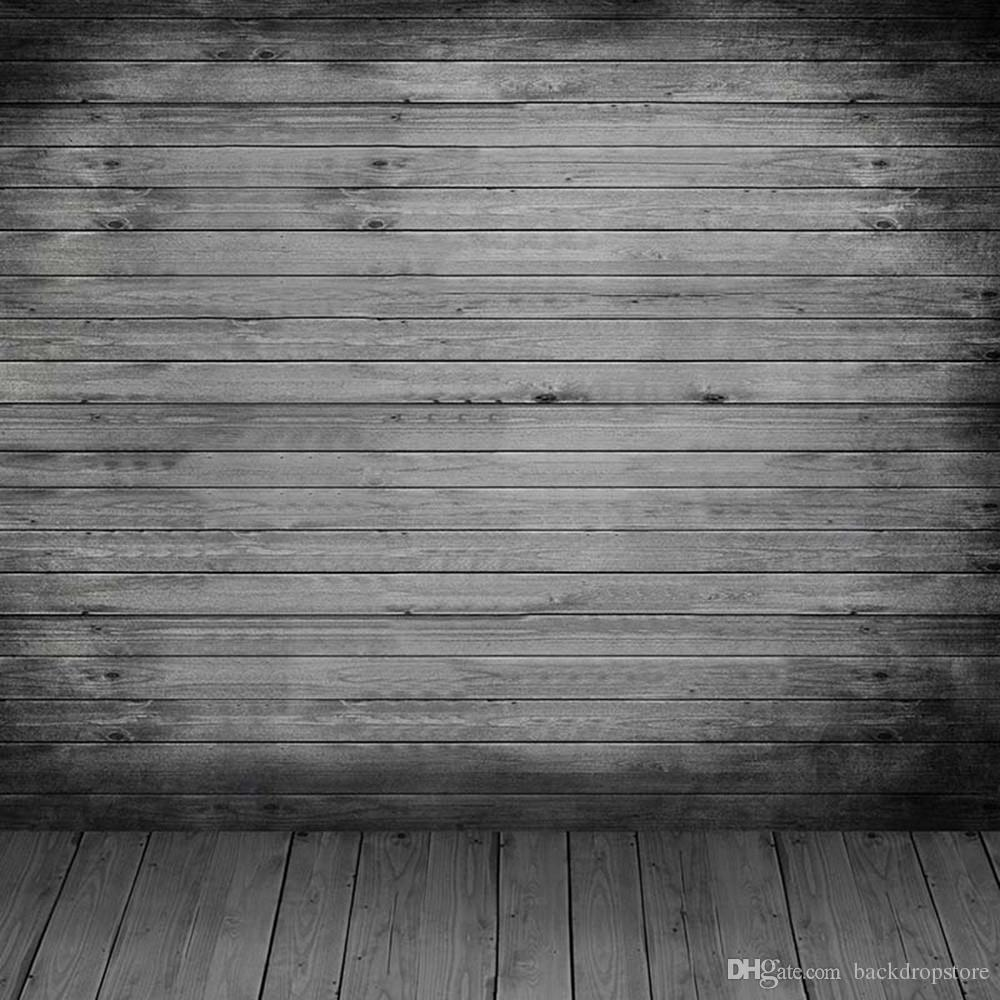 2019 Dark Grey Wood Wall Floor Photography Backdrop Vinyl