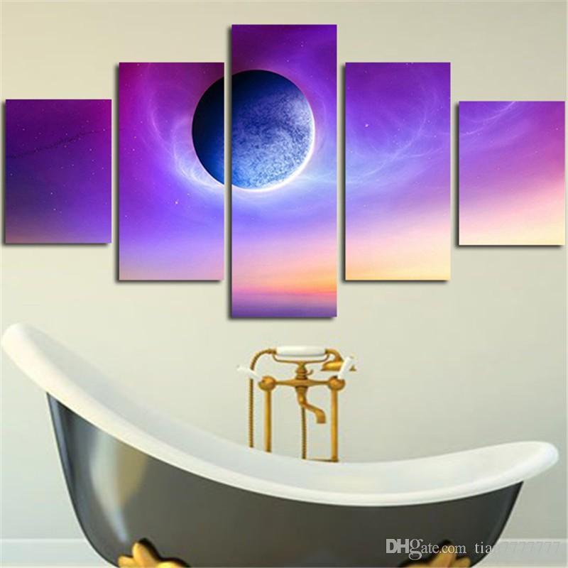 New Purple Planet peintures sur toile / ensemble sans cadre de haute qualité Imprimé photos pour le décor de salon Drop shipping