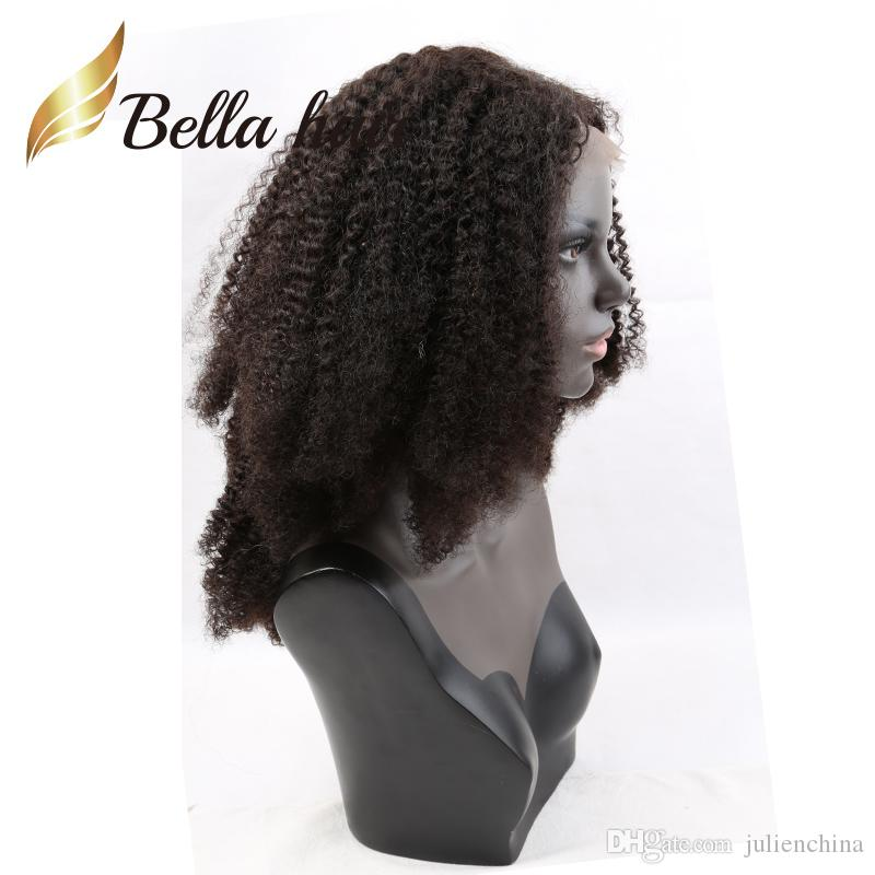 Afro Kinky Kręcone Przód / Pełna Koronkowa Peruka 100% Indian Natural Black Color Bella Hair Wigs Hurt