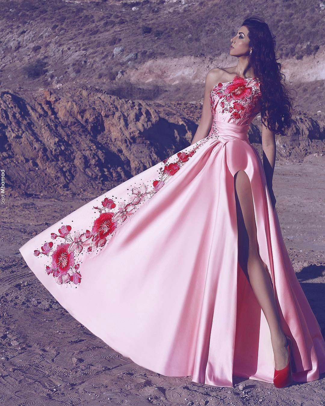 Compre Rosa Bordado Diseños Vestidos De Noche 2017 Una Vaina De ...