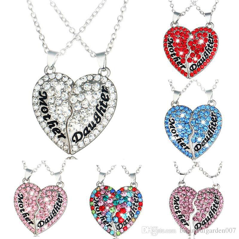 Wholesale crystal mother daughter love broken heart necklace wholesale crystal mother daughter love broken heart necklace diamond heart necklace best friend pendants women girl mothers day jewelry cat pendant aloadofball Image collections