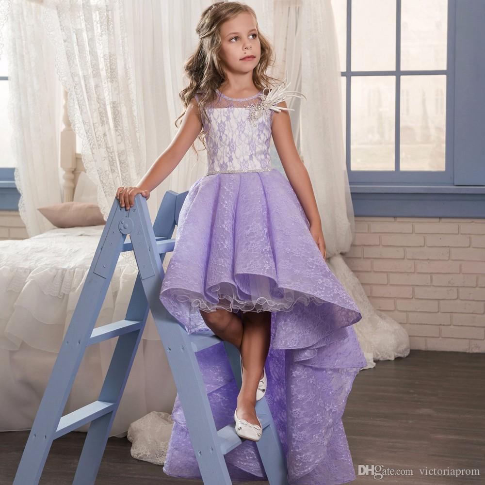 Fancy Lilac Little Girls Pageant Dress Sleeveless Lace Purple Flower