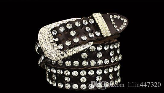 새로운 스타일의 벨트 다이아몬드 크리스탈 벨트 여성 진주 허리 벨트 화려한 크리스탈 반짝 이는 벨트 cowskin 디자이너 벨트 여성의 여자 허리 벨트