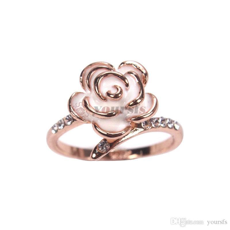 Yoursfs gold 585 nuovo design anelli di nozze fiore rosa le donne romantiche rafforzamento predisposto ingaggiamento bague femme acquisti online in India
