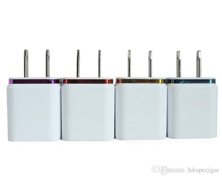 Caricatore da muro doppio USB in metallo Caricatore da muro US EU Plug 2.1A Caricatore da muro adattatore 2 pin Iphone Samsung Galaxy Note LG Tablet Ipad