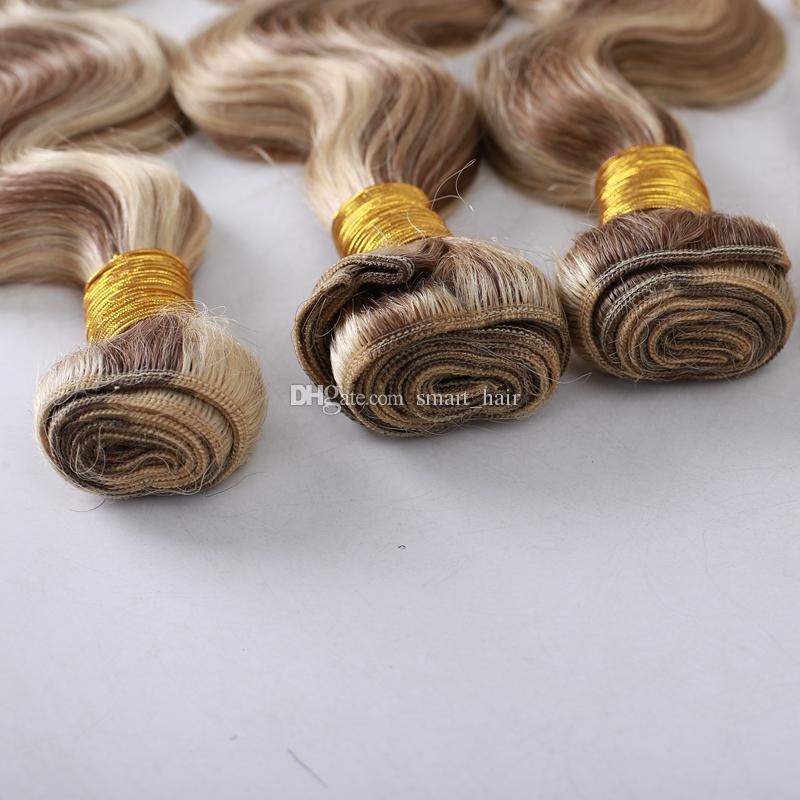 Nuovo arrivo # 8 # 613 fasci di capelli umani di colore del piano della miscela trama di capelli umani di colore marrone dorato dorato candeggiatore dell'onda del corpo vergine