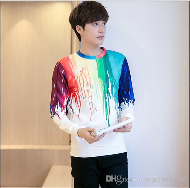 2018 Korean Style Male Print Sweater T Shirt New Autumn