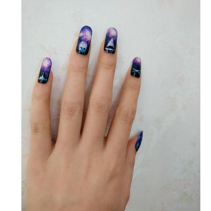 Sexy Evening Glitter Manicure Shine Glass Ball Acrylic Sticker Adhesive Nail Art Stickers Nail Foil Decals Nails Beauty