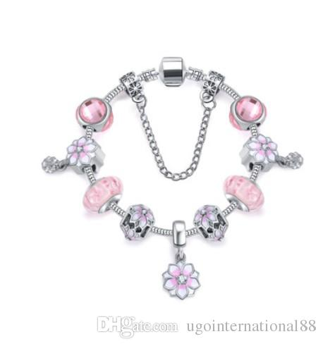 925 sterling silver murano glass bead charm pink enamel magnolia 925 sterling silver murano glass bead charm pink enamel magnolia bloom with crystal pendant beads fit women pandora bracelet diy jewelry bracelets for men mozeypictures Gallery