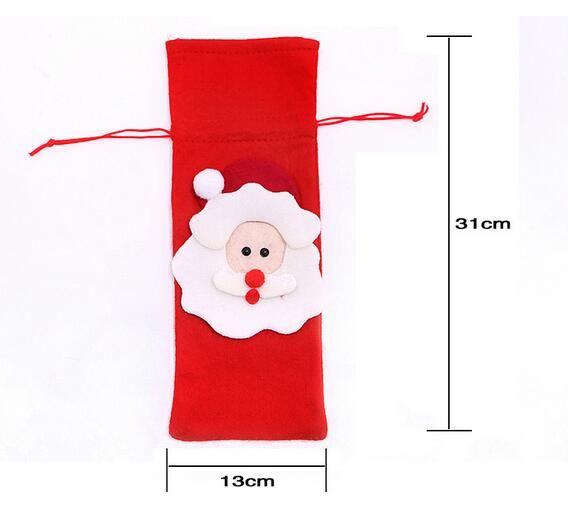 Mode Hot Rotweinflasche Abdeckung Taschen Weihnachtsessen Tischdekoration Home Party Dekore Weihnachtsmann