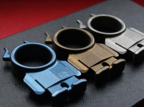 Titanium TC4 EDC Lovely Minotaur Goblin Single Finger Knuckle Duster Key Accessory 70*39*12mm Stone washed Anodiezed Blue Gold Surface