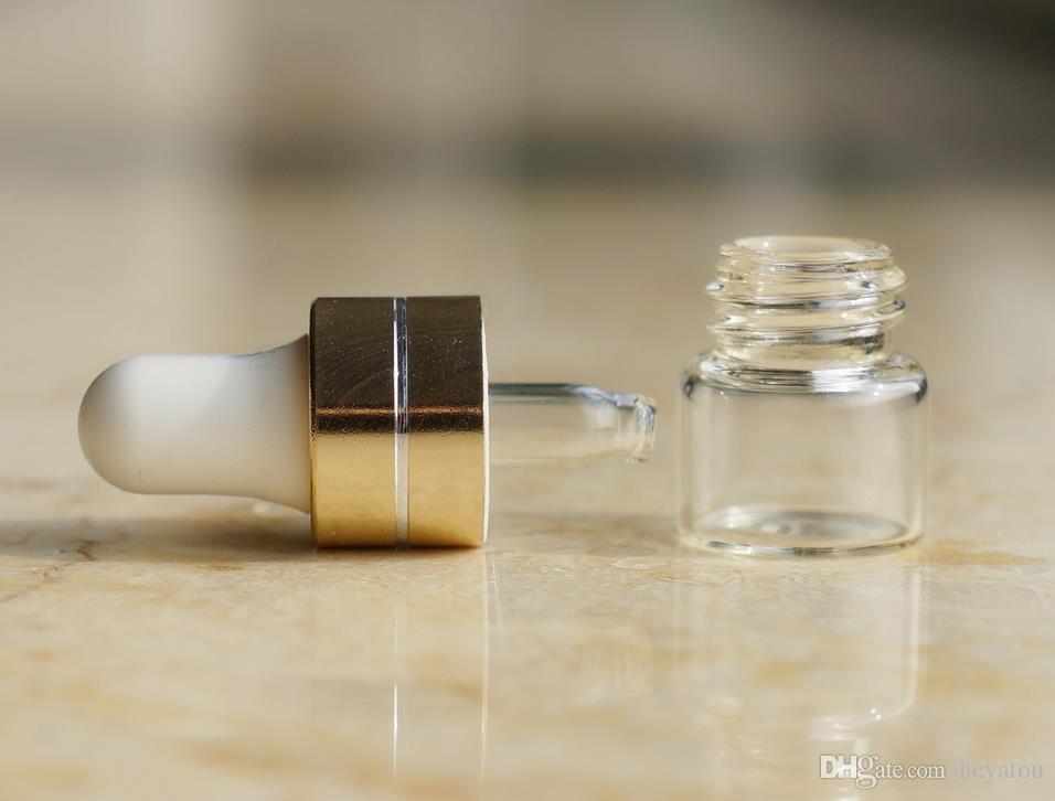 Claro Cuentagotas 1ml 2ml 3ml Mini Botella de vidrio Aceite esencial Pantalla Vial Pequeño Suero Perfume Marrón Contenedor de muestra