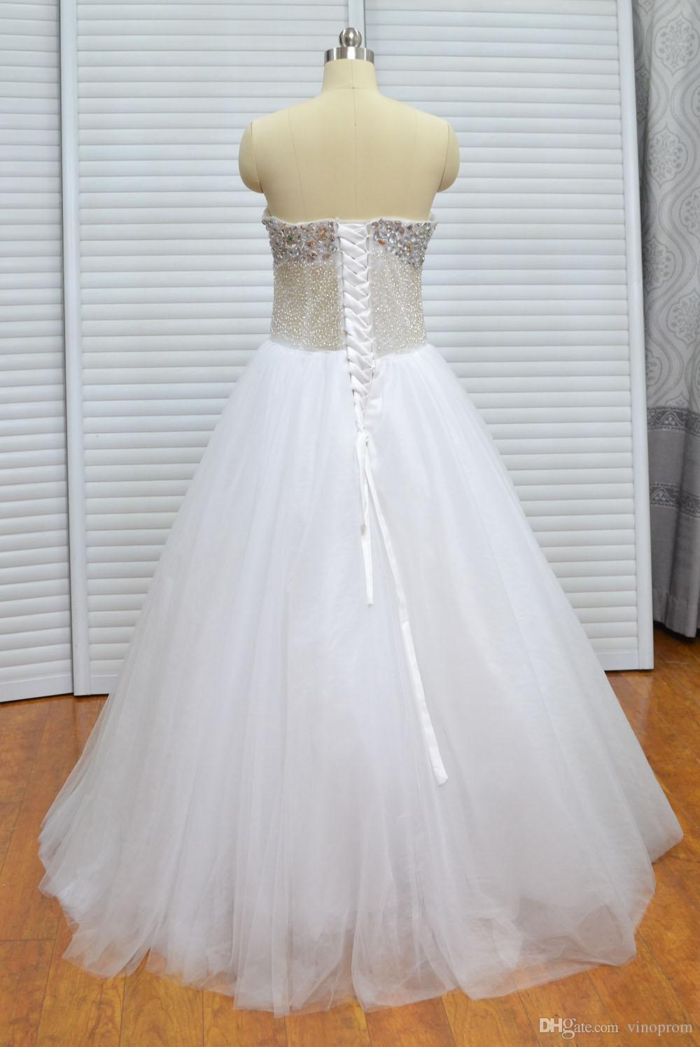Abito da sposa in pizzo bianco con scollo a cuore in pizzo bianco con scollo a V a terra, donna, abito da sposa 2018