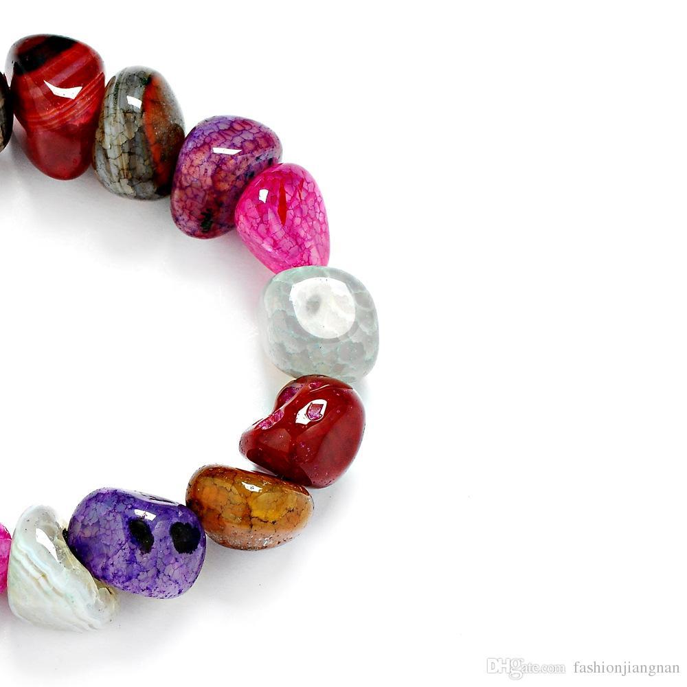 حار بيع رائع الجمشت جاسبر العقيق أساور عشوائية غير النظامية 7 شقرا الشفاء بلورات الحجر الطبيعي رقائق واحدة حبلا أساور للنساء