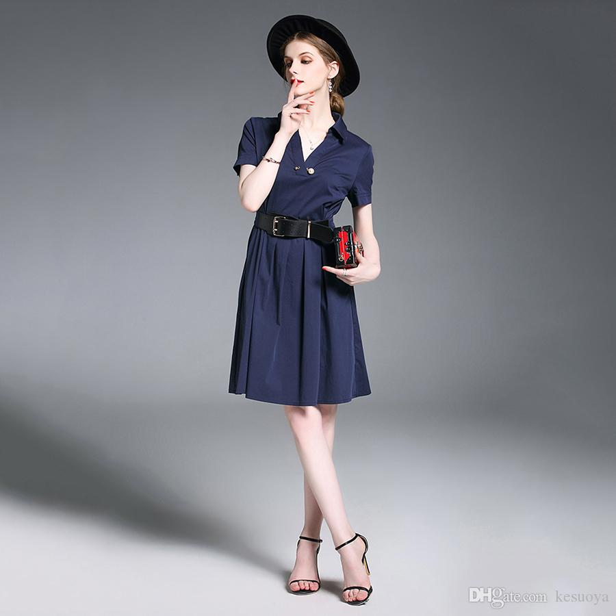 Großhandel Nette Blaue Sommerkleid Damen Casual Party ...