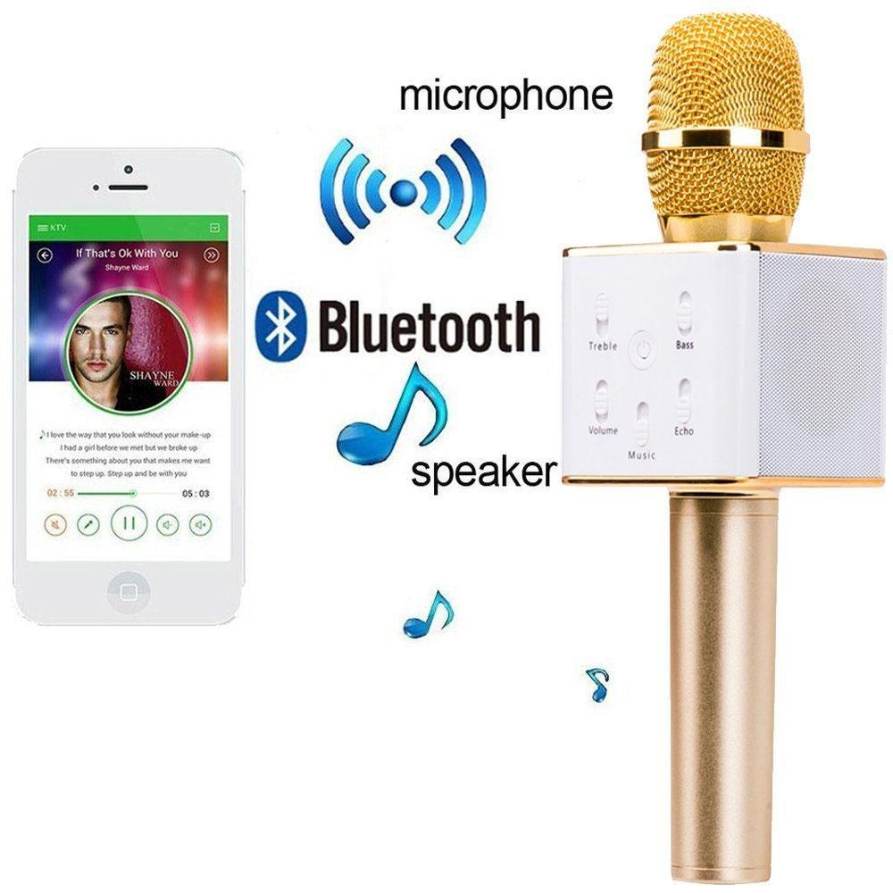quality design 307b8 21d23 Q7 Mini Magic Karaoke Microphone Wireless Condenser Bluetooth Mic Speaker  For Iphone XS MAX XR Samsung Galaxy S10 Plus S10e Note 9 8