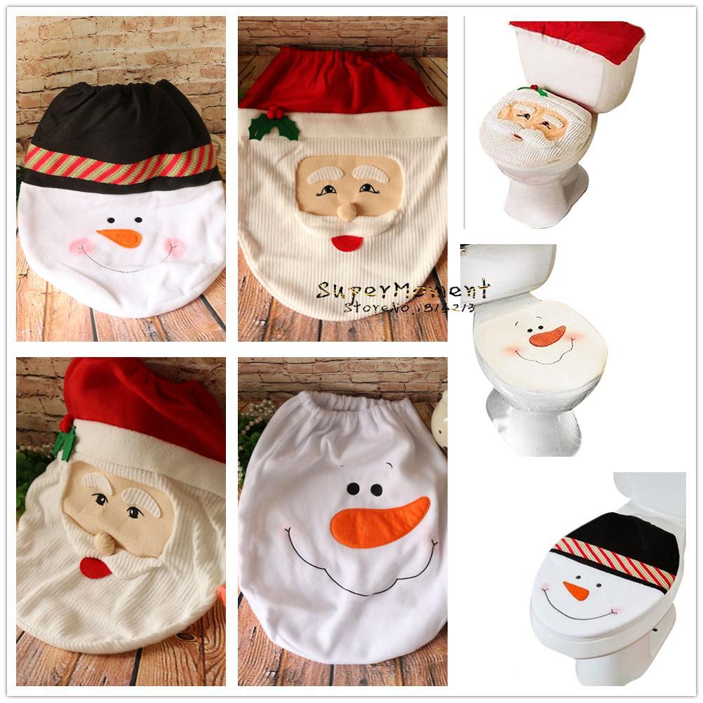 Wholesale 4 Styles Christmas Toilet Seat Cover Home Bathroom Decoration Joyful Snowman Santa Claus Design Xmas Ornaments