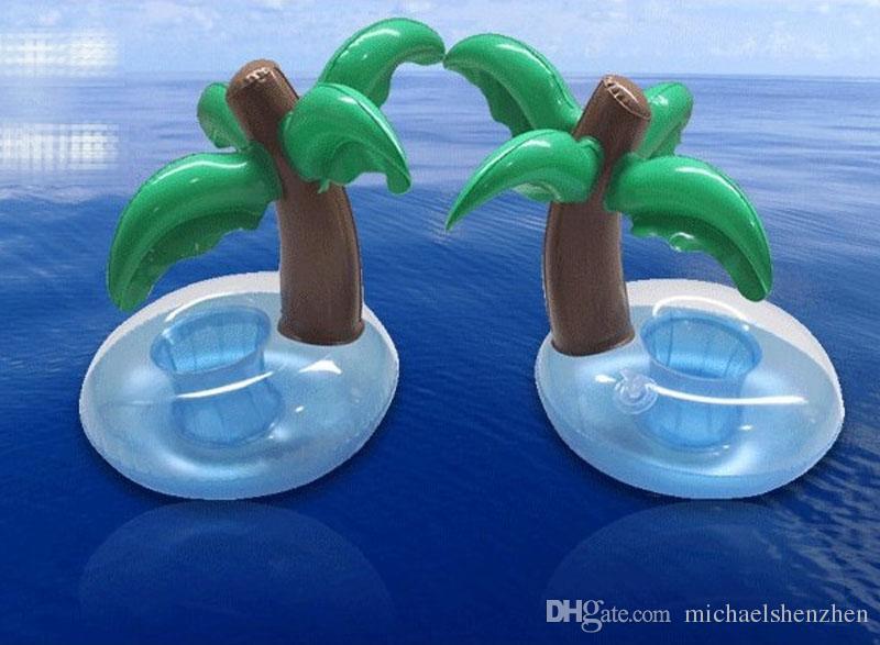 INS Inflável Flutuante Drink coxim Titular mini anel de natação Coasters Bathing Cup Anel Flamingo Coqueiro abacaxi Donut banho brinquedos B001