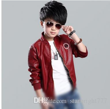 Kids Outercoats Big Boys Pu Leather Jackets Children Animal ...