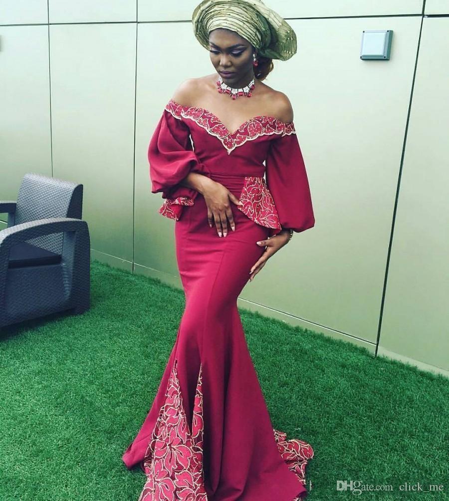 Afrika Koyu Kırmızı Mermaid Abiye giyim Kapalı Omuz Dantel Aplikler Peplum puf Uzun Kollu Balo Elbise Uzun Parti Elbise Vestidos